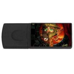 Funny Giraffe With Helmet Rectangular Usb Flash Drive by FantasyWorld7