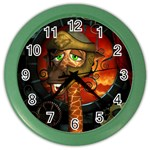Funny Giraffe With Helmet Color Wall Clocks Front