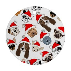 Christmas Puppies Ornament (round) by allthingseveryone