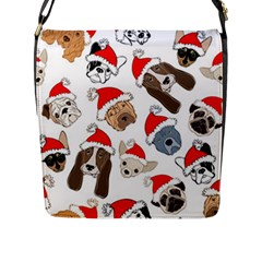 Christmas Puppies Flap Messenger Bag (l)  by allthingseveryone