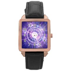 Blue Fractal Alchemy Hud For Bending Hyperspace Rose Gold Leather Watch  by jayaprime