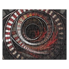 The Thousand And One Rings Of The Fractal Circus Rectangular Jigsaw Puzzl by jayaprime