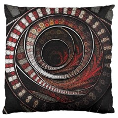 The Thousand And One Rings Of The Fractal Circus Large Cushion Case (one Side) by jayaprime