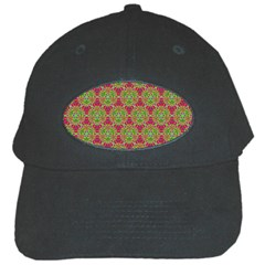 Red Green Flower Of Life Drawing Pattern Black Cap by Cveti
