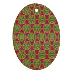 Red Green Flower Of Life Drawing Pattern Ornament (oval) by Cveti