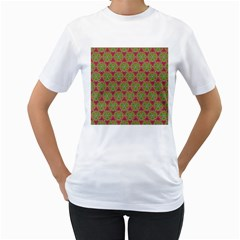 Red Green Flower Of Life Drawing Pattern Women s T Shirt (white) (two Sided) by Cveti