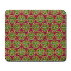 Red Green Flower Of Life Drawing Pattern Large Mousepads by Cveti
