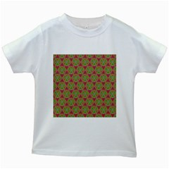 Red Green Flower Of Life Drawing Pattern Kids White T Shirts by Cveti