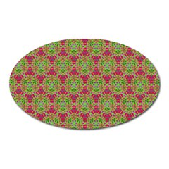 Red Green Flower Of Life Drawing Pattern Oval Magnet by Cveti