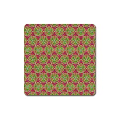 Red Green Flower Of Life Drawing Pattern Square Magnet by Cveti