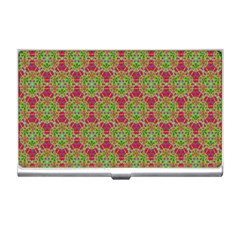 Red Green Flower Of Life Drawing Pattern Business Card Holders by Cveti