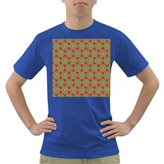 Red Green Flower Of Life Drawing Pattern Dark T Shirt by Cveti