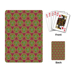 Red Green Flower Of Life Drawing Pattern Playing Card by Cveti