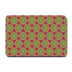 Red Green Flower Of Life Drawing Pattern Small Doormat  by Cveti
