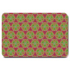 Red Green Flower Of Life Drawing Pattern Large Doormat  by Cveti