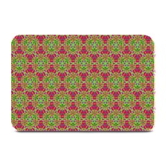 Red Green Flower Of Life Drawing Pattern Plate Mats by Cveti