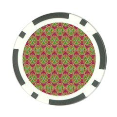 Red Green Flower Of Life Drawing Pattern Poker Chip Card Guard (10 Pack) by Cveti
