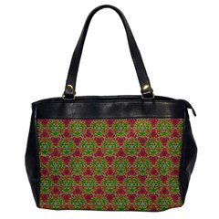 Red Green Flower Of Life Drawing Pattern Office Handbags by Cveti