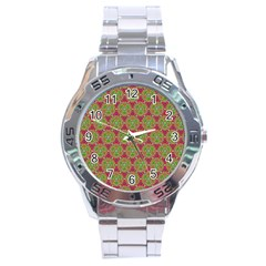 Red Green Flower Of Life Drawing Pattern Stainless Steel Analogue Watch by Cveti