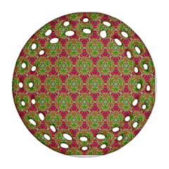 Red Green Flower Of Life Drawing Pattern Ornament (round Filigree) by Cveti