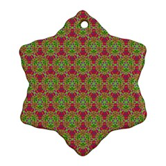 Red Green Flower Of Life Drawing Pattern Snowflake Ornament (two Sides) by Cveti