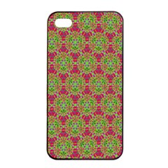 Red Green Flower Of Life Drawing Pattern Apple Iphone 4/4s Seamless Case (black) by Cveti