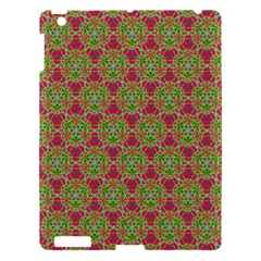 Red Green Flower Of Life Drawing Pattern Apple Ipad 3/4 Hardshell Case by Cveti