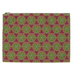 Red Green Flower Of Life Drawing Pattern Cosmetic Bag (xxl)  by Cveti
