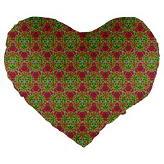 Red Green Flower Of Life Drawing Pattern Large 19  Premium Heart Shape Cushions by Cveti
