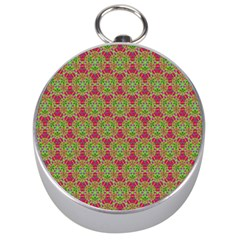 Red Green Flower Of Life Drawing Pattern Silver Compasses by Cveti
