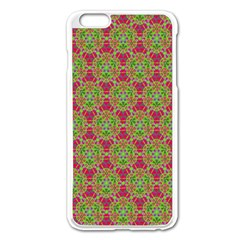 Red Green Flower Of Life Drawing Pattern Apple Iphone 6 Plus/6s Plus Enamel White Case by Cveti