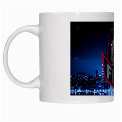 Chicago Fire With Skyline White Mugs by allthingseveryone