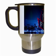Chicago Fire With Skyline Travel Mugs (white) by allthingseveryone