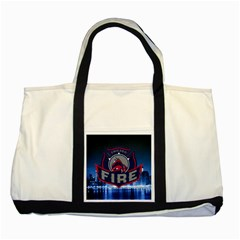 Chicago Fire With Skyline Two Tone Tote Bag by allthingseveryone