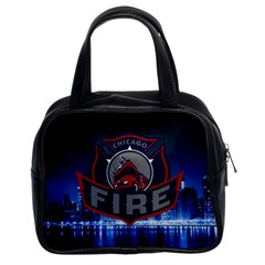 Chicago Fire With Skyline Classic Handbags (2 Sides) by allthingseveryone