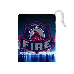 Chicago Fire With Skyline Drawstring Pouches (medium)  by allthingseveryone