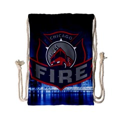 Chicago Fire With Skyline Drawstring Bag (small) by allthingseveryone