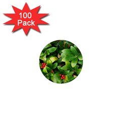 Christmas Season Floral Green Red Skimmia Flower 1  Mini Magnets (100 Pack)  by yoursparklingshop