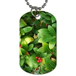 Christmas Season Floral Green Red Skimmia Flower Dog Tag (Two Sides) Front