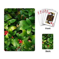 Christmas Season Floral Green Red Skimmia Flower Playing Card by yoursparklingshop