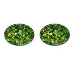 Christmas Season Floral Green Red Skimmia Flower Cufflinks (oval) by yoursparklingshop