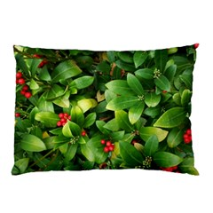 Christmas Season Floral Green Red Skimmia Flower Pillow Case by yoursparklingshop