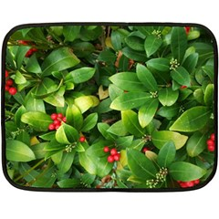 Christmas Season Floral Green Red Skimmia Flower Fleece Blanket (mini) by yoursparklingshop