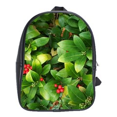 Christmas Season Floral Green Red Skimmia Flower School Bag (large)
