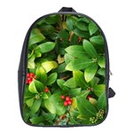 Christmas Season Floral Green Red Skimmia Flower School Bag (Large) Front