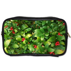 Christmas Season Floral Green Red Skimmia Flower Toiletries Bags