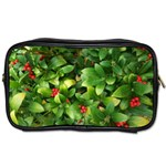 Christmas Season Floral Green Red Skimmia Flower Toiletries Bags Front
