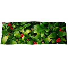 Christmas Season Floral Green Red Skimmia Flower Body Pillow Case Dakimakura (two Sides) by yoursparklingshop