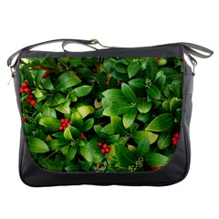 Christmas Season Floral Green Red Skimmia Flower Messenger Bags by yoursparklingshop