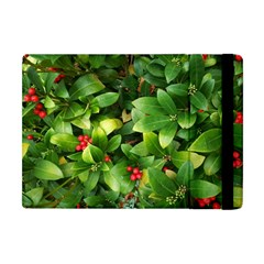 Christmas Season Floral Green Red Skimmia Flower Apple Ipad Mini Flip Case by yoursparklingshop